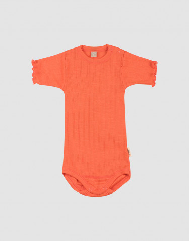 Baby Kurzarm Body aus Wolle/ Seide mit Pointelle Muster