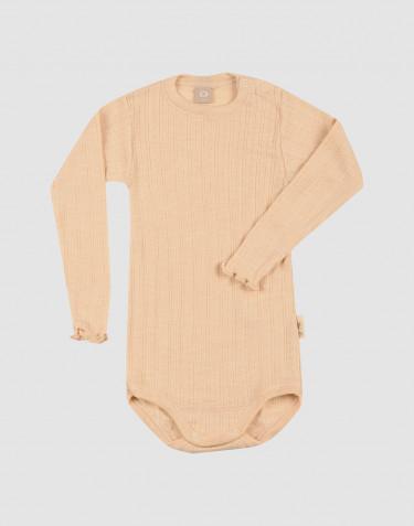 Baby Langarm Body aus Wolle/ Seide mit Pointelle Muster