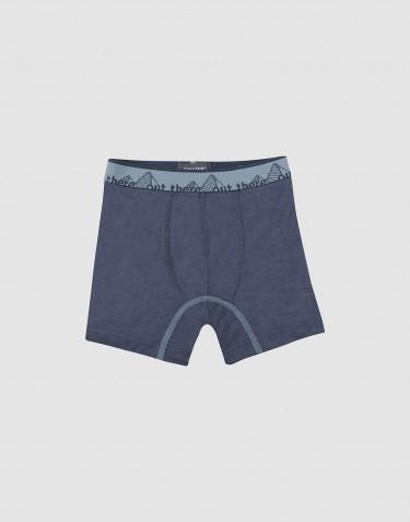 Kinder Boxershorts - Exklusive natürliche Merinowolle Blaugrau