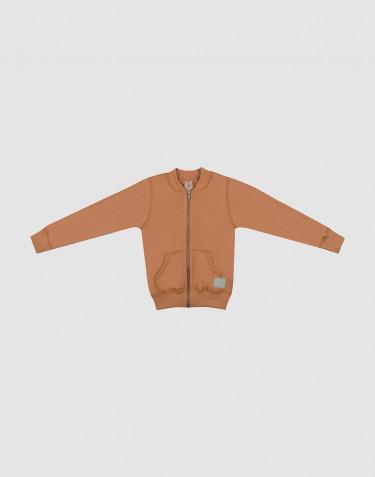 Reißverschluss Jacke für Kinder aus Wollfrottee Karamell