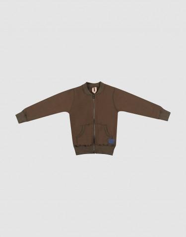 Reißverschluss Jacke für Kinder aus Wollfrottee Schokobraun