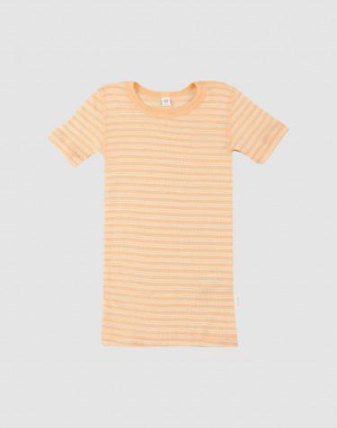 T-Shirt für Kinder aus Bio Wolle-Seide aprikot/natur