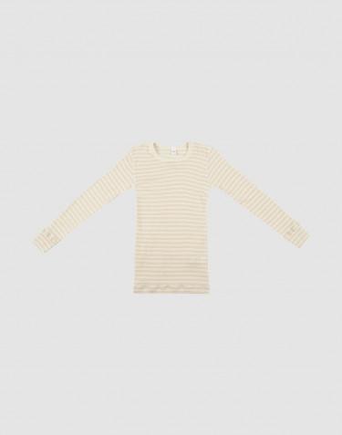 Kinder Langarmshirt aus Bio Wolle-Seide beige/natur