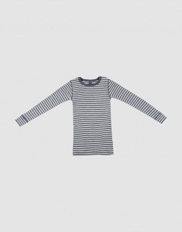 Langarmshirt für Kinder aus Bio Wolle-Seide Blau meliert/ natur