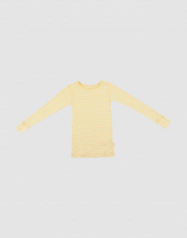 Langarmshirt für Kinder aus Wolle/ Seide Hellgelb/Natur