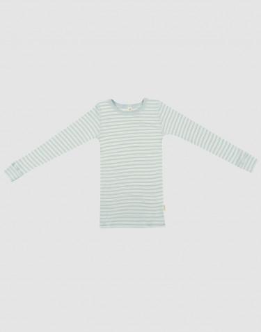 Langarmshirt für Kinder aus Bio Wolle-Seide Pastellgrün/ natur