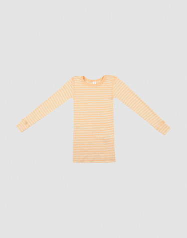 Kinder Langarmshirt aus Bio Wolle-Seide aprikot/natur