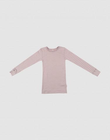 Langarmshirt für Kinder aus Bio Wolle-Seide Pastellrosa/ natur
