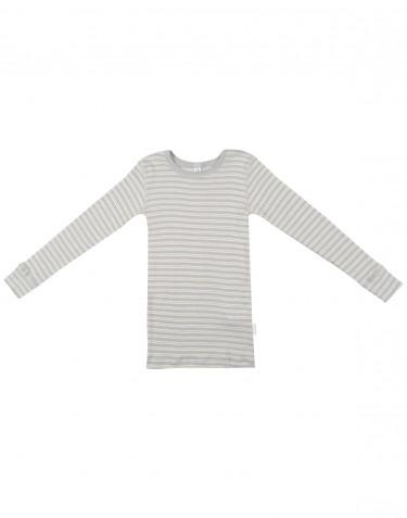 Kinder Langarmshirt aus Bio Wolle-Seide grau/natur
