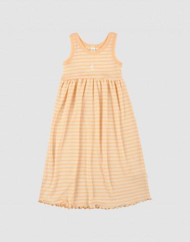 Kinder Trägerkleid aus Bio Wolle-Seide aprikot/natur
