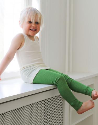 Natürliche Wolle/Seide Leggings für Kinder - Apfelgrün