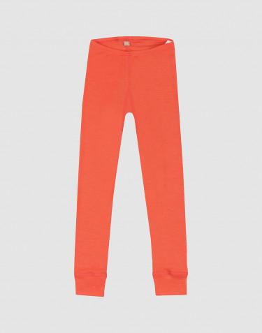 Natürliche Wolle/Seide Leggings für Kinder - Erdbeerrot