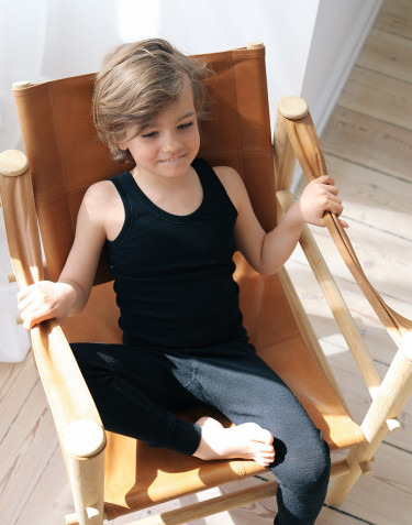 Natürliche Wolle/Seide Leggings für Kinder - Schwarz