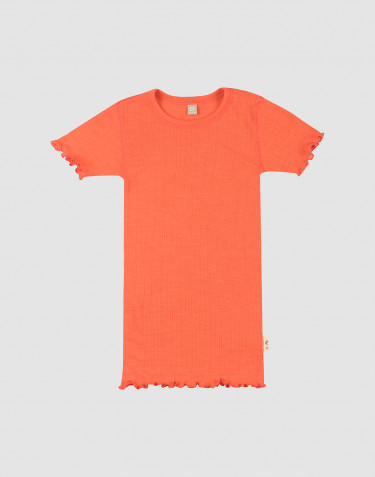Pointelle T-Shirt für Kinder aus Merinowolle und Seide