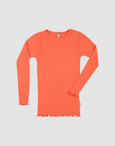 Pointelle Langarmshirt für Kinder aus Wolle und Seide