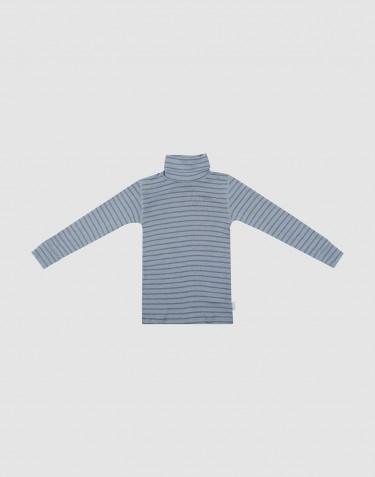 Merino Rollkragen Shirt für Kinder blau gestreift
