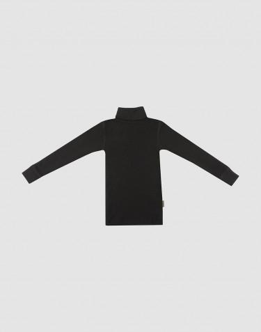 Merino Rollkragen Shirt für Kinder Schwarz