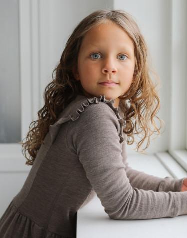 Kleid mit Rüschen aus Merinowolle für Kinder