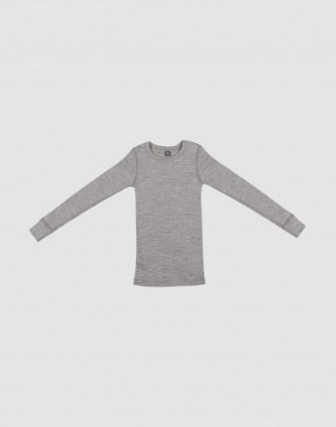 Kinder Shirt in breitem Rippstrick graumeliert