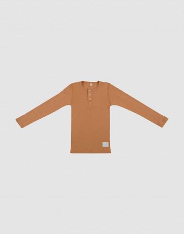 Kinder Shirt in Rippstrick mit Knopfleiste Karamell