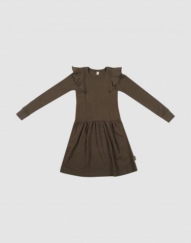 Wollkleid in Rippstrick mit Rüschen Schokobraun