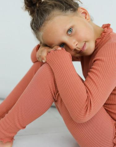 Merino Langarmshirt mit gewellten Kanten für Kinder