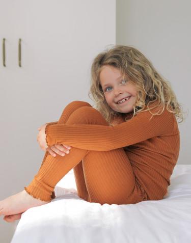 Merino Leggings mit gewellter Kante für Kinder Karamell