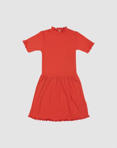 Kinder Kleid mit gekräuseltem Rand aus Merinowolle