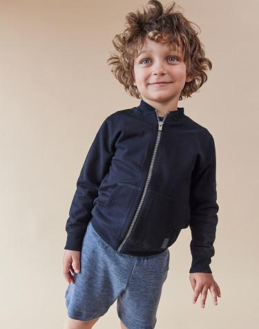 Kinder Sweatshirt mit Reißverschluss schwarz