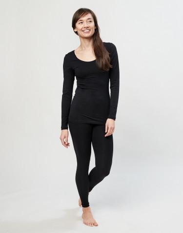 Damen Leggins aus Baumwolle schwarz