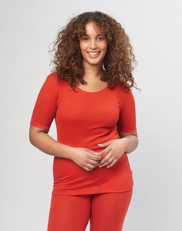 Damen Merino T-Shirt in Rippstrick - Rot