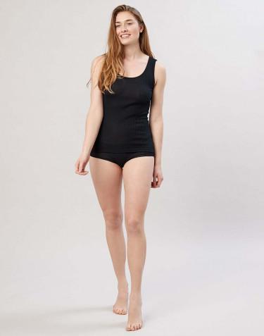 Damen Midi Slip in Rippqualität schwarz