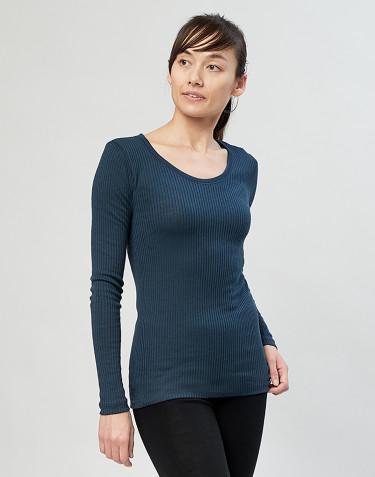 Merino Rippshirt für Damen Dunkelpetrol