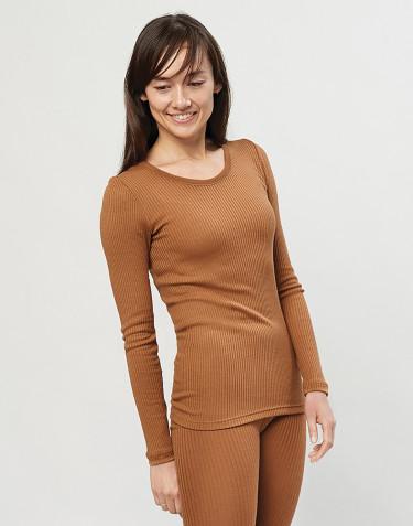 Merino Rippshirt für Damen karamell