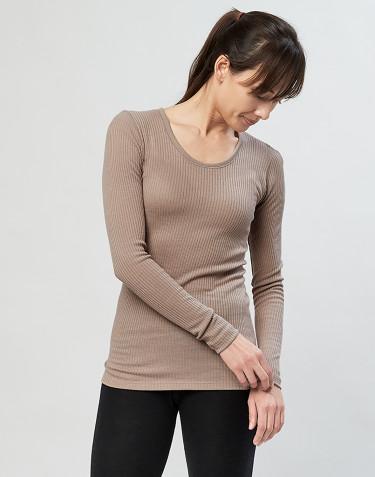 Merino Rippshirt für Damen sand