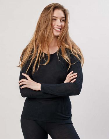 Merino Rippshirt für Damen schwarz