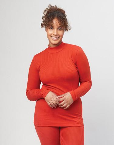 Stehkragen Shirt aus Merinowolle - Rot