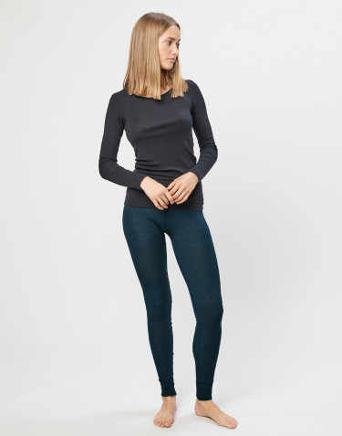 Merino Rippleggings für Damen Dunkelpetrol