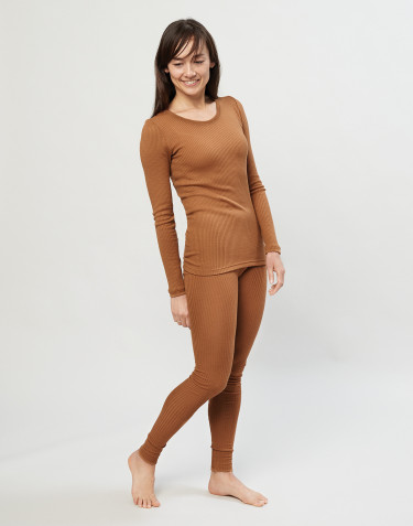 Merino Rippleggings für Damen karamell