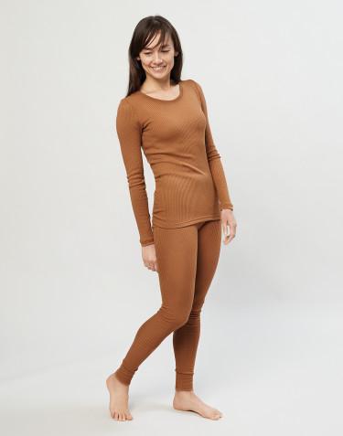Merino Rippleggings für Damen karamell