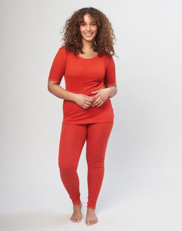 Damen Merino Leggings in Rippstrick - Rot