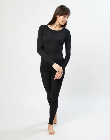 Merino Leggings Damen schwarz