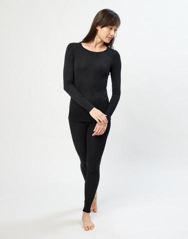 Merino Leggings Damen schwarz