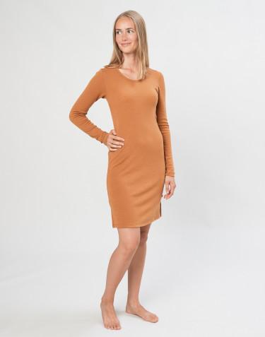 Langärmliges Merino Nachthemd karamell