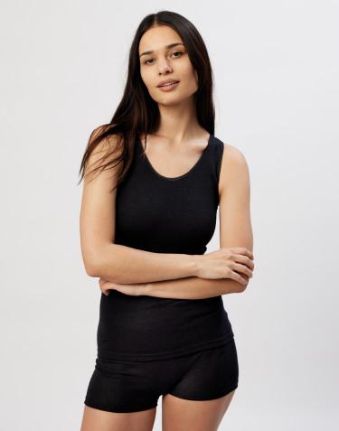 Merino Unterhemd für Damen schwarz