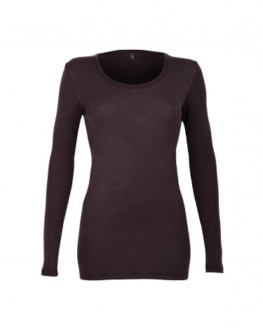 Langarmshirt für Damen - BIO Merinowolle dunkellila