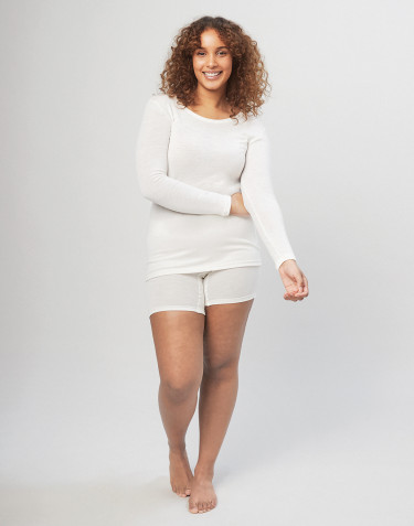 Damen Merino Shorts mit breitem elastischen Bund Natur
