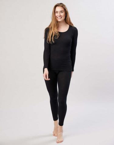 Damen Merino Leggings mit breitem elastischen Bund Schwarz