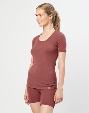 Merino T-Shirt für Damen rouge
