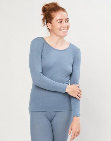 Longsleeve für Damen - Bio Merinowolle Blau